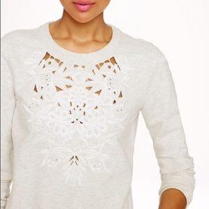 J. CREW Cut Out Floral Sweatshirt